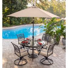 outdoor dining sets with umbrella. Home \u003e Outdoor Living Dining Sets Traditions 5-Piece Set In Tan With 48 In. Glass-top Table, 9 Ft. Table Umbrella, Umbrella