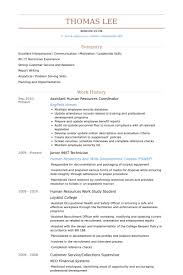Assistant Human Resources Coordinator Resume samples