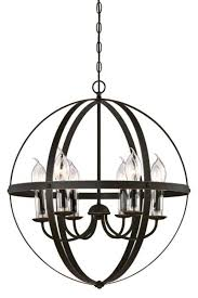 6 light chandelier oil rubbed bronze finish with highlights and clear glass candle covers