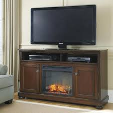 porter transitional cherry 60 large tv stand with fireplace insert