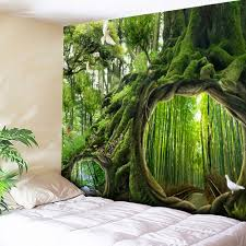 wall hanging forest life tree pattern tapestry green w79 inch l59 inch