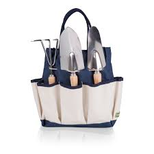 garden tote with tools color navy with beige