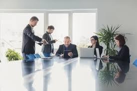 office meeting. coworkers in meeting hall office c