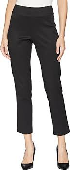 Krazy Larry Womens Pull On Pique Ankle Pants Black 4 28
