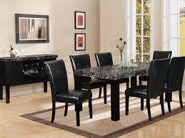 contemporary dining room with black marble height dining room table black leather upholstered chairs