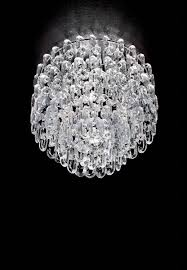 semi flush modern ceiling light with clear hand blown murano glass in the form of open chain links the distinctive concept of chain links joined to offer