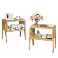 Shop Costway <b>Set of 2 Bamboo</b> Nightstand Stackable Sofa Table ...