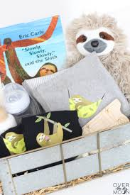sloth themed baby gift idea perfect for a boy or and super easy to