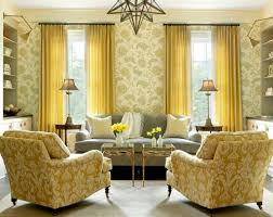 Yellow Paint For Living Room Floral Wallpaper For Casual Living Room Ideas With Yellow Curtain