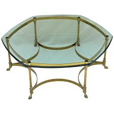 vintage barge labarge brass coffee table heavy glass top end the old light ruby lane wrought