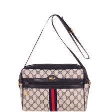 gucci vintage. gucci vintage leather trim monogram canvas shoulder/cross body bag: image 1 d