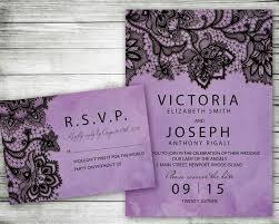 Black And Purple Invitations Wedding Invitation Purple Black Lace Printable Invite Set