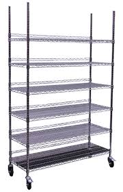 hydro flow commercial grade chrome storage rack 6 shelves with backstop casters mobile storage racks storage racks shelving garden care
