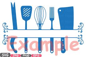 kitchen utensils split silhouette. Wonderful Split Split Kitchen SVG File Cutting Files Cricut U0026 Cameo Utensils  Silhouette Cooking Food Stickers Clipart Tools Clip Art 571S By HamHamArt  To 7
