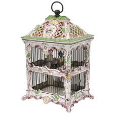 19th Century, French, Hand-Painted Porcelain Birdcage Lamp from Paris For  Sale