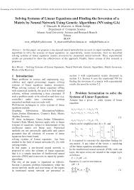 pdf solving systems of linear equations and finding the inversion of a matrix by neural network using genetic algorithms nn using ga