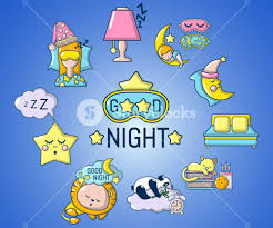 good night concept banner cartoon banner of good night vector concept for web giftcard