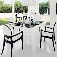 modern dining sets in black and white theme with rectangle black glass dining table and