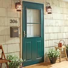 1 2 light panel ventilating door in forest green with nickel hardware therma tru storm doors