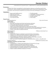 Order Selector Resume Awesome Examples Of Warehouse Resumes
