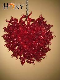free shipping italian big red hand blown glass pen chandelier modern italy blown glass