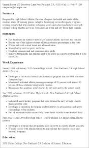 Sample Sports Resume Athletic Resume Barraques Org