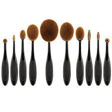 yoseng 10 pcs new fashionable super soft oval toothbrush makeup brush set foundation brushes contour powder