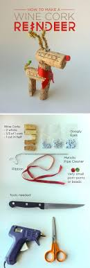 instructions to make a very easy wine cork reindeer decoration using wine corks and other basic craft supplies