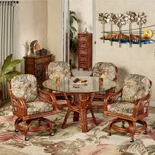 leather dining chairs with casters. Full Size Of Amazing Leikela Rain Forest Tropical Dining Furniture Set Caster Chairs Swivel Dinetteling With Leather Casters