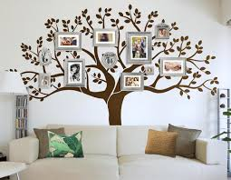 white background family tree wall art picture frame wallpaper brown sofa comfortable leaves contemporary modern