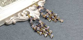 picture of diy long chandelier earrings with brilliant electroplate glass beads