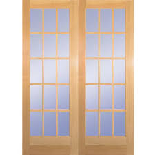Builderu0027s Choice 60 In X 80 In 15Lite Clear Wood Pine Prehung French Doors Interior
