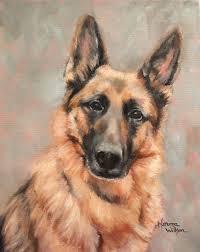 German shepherd painting, German ...