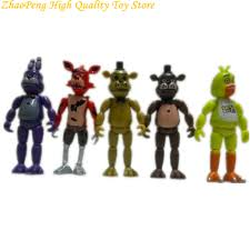 Us 1223 22 Off5 Pcs Lot 12 Cm Five Nights At Freddys Pvc Action Figure Toy Foxy Gold Chica Freddy With 2 Color Led Lights Kids Toys Brinqued In