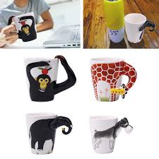 1EEE 3D Hand Painted Animals Handle Ceramic Coffee Tea Mug ...