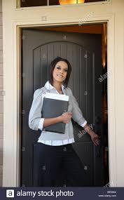 opening front door. Opening Front Door Woman Stock Photos \u0026 )
