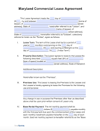 Simple parking lease agreement template. Free Maryland Commercial Lease Agreement Template Pdf Word