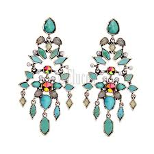 vintage geometric chandelier long big statement earrings blue vintage