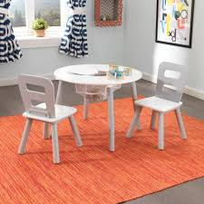 round storage table 2 chair set gray