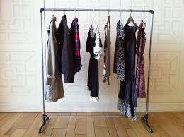 ... Wardrobe Racks, Portable Clothing Racks Garment Rack With Cover Simple  Metal Pipe Clothing Rack Stand ...
