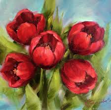 oil painting red tulips oil painting flowers impressionism