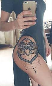 Womens Creative Lotus Thigh Tattoo Ideas Lace Chandelier