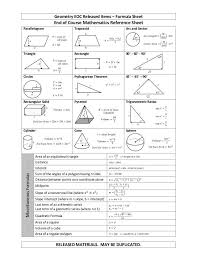 formula sheets for geometry geometry eoc released items formula sheet released materials may