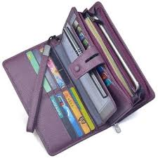 Women s RFID Leather Clutch Wallet Checkbook Holder