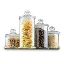 anchor hocking 4pc round glass canister set w ball lid glass jars vases canisters jars canisters storage organization