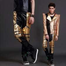 mens fashion costume leather trousers personality male djds leather pants stage singer costumes clothing z6l2e1o0v1v7