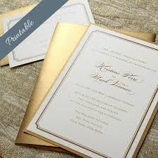 Invitations Simple Gold Wedding Invitation Printable Invitations