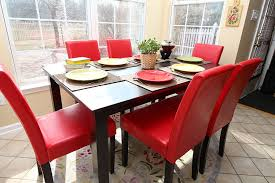 amazon 7 pc red leather 6 person table and chairs red dining dinette red parson chair table chair sets