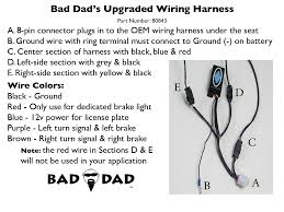 upgraded wiring harness bad dad custom bagger parts for your 1 bad dad s basic wiring harness features 3 sections 1 center section that will supply ground run light brake light functions ideal for a center