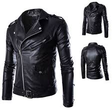 details about 2019 black men s pu leather jacket fashion slim cycling motorcycle jacket top